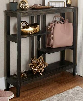 brushed metallic console table with display shelves