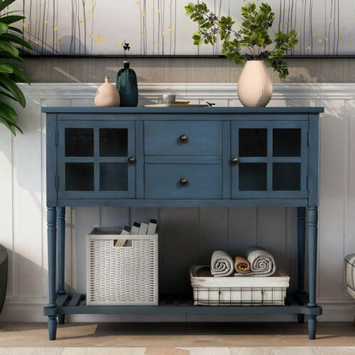 buffet sideboard console table w bottom shelf