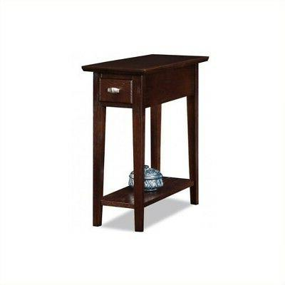 chairside recliner end table in a chocolate