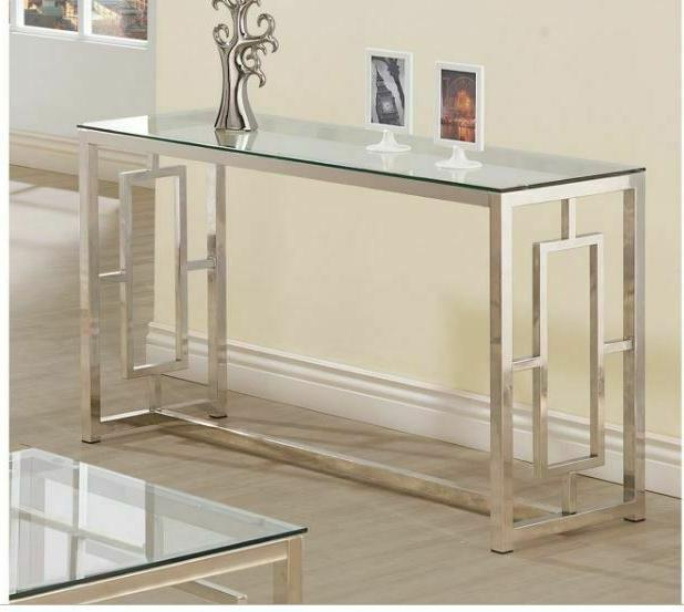chrome console sofa table glass top glam