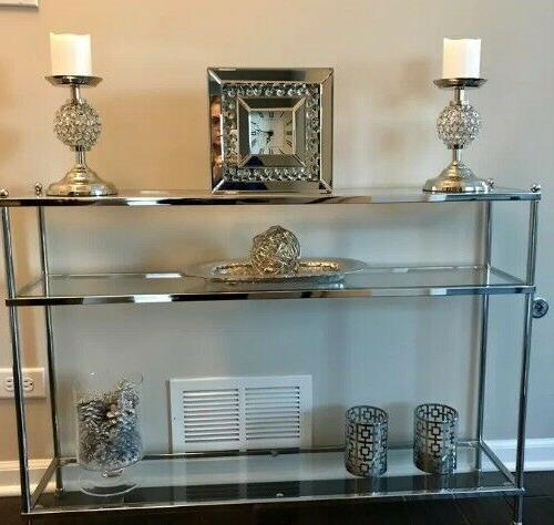 Chrome Console Table Modern Contemporary Glass Hollywood Glam