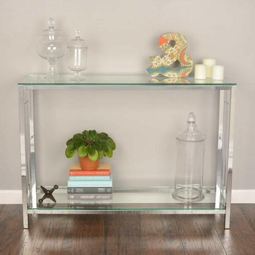 chrome metal glass accent console sofa table