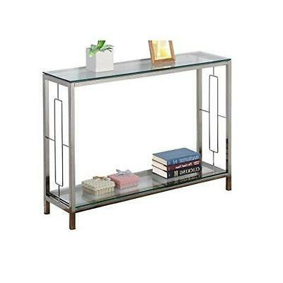 chrome metal glass accent console