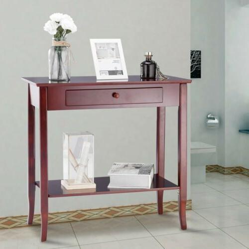 Home Kitchen Wood Console Table Shelf with Drawer Entryway H