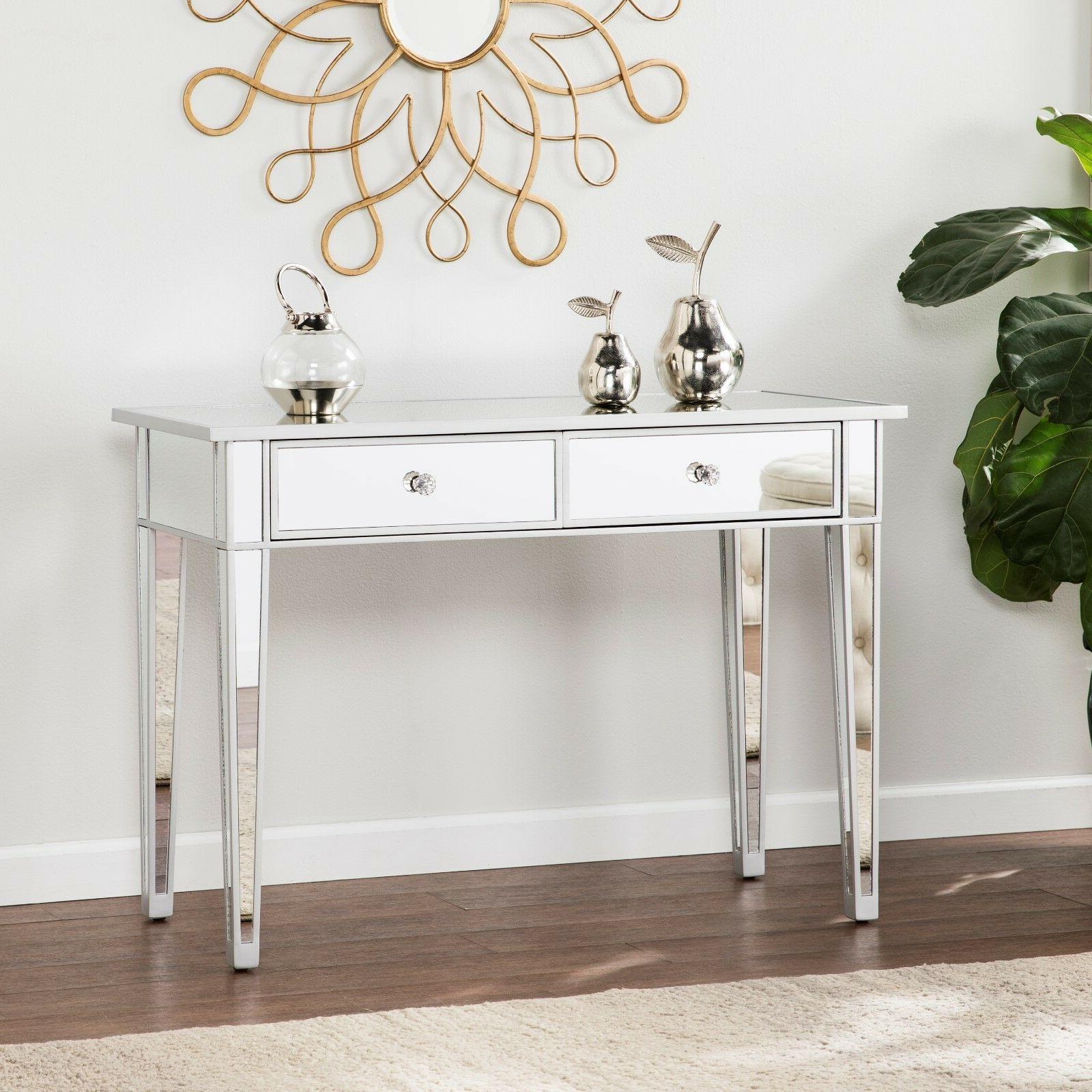 cmt36919 silver mirrored 2 drawers console table