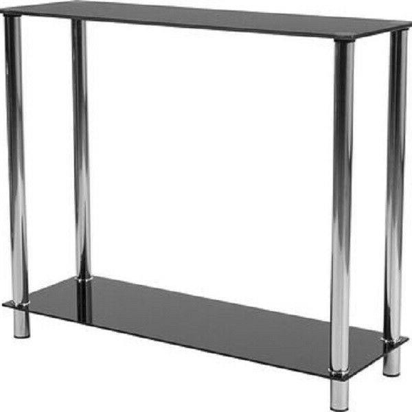 collection black glass console table