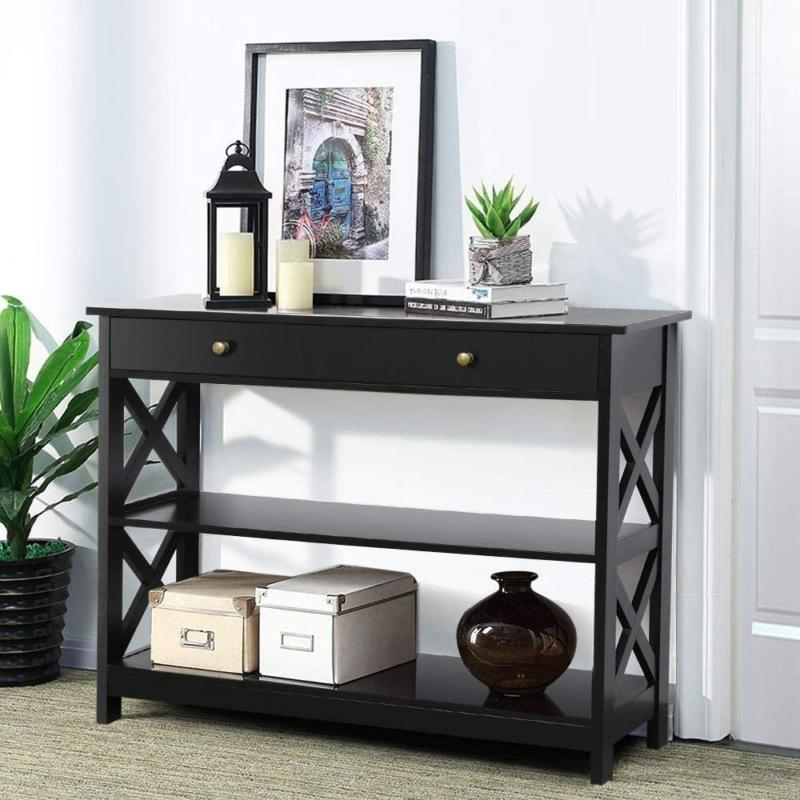 Yaheetech Console Sofa Table Classic X Design w/ Drawer And