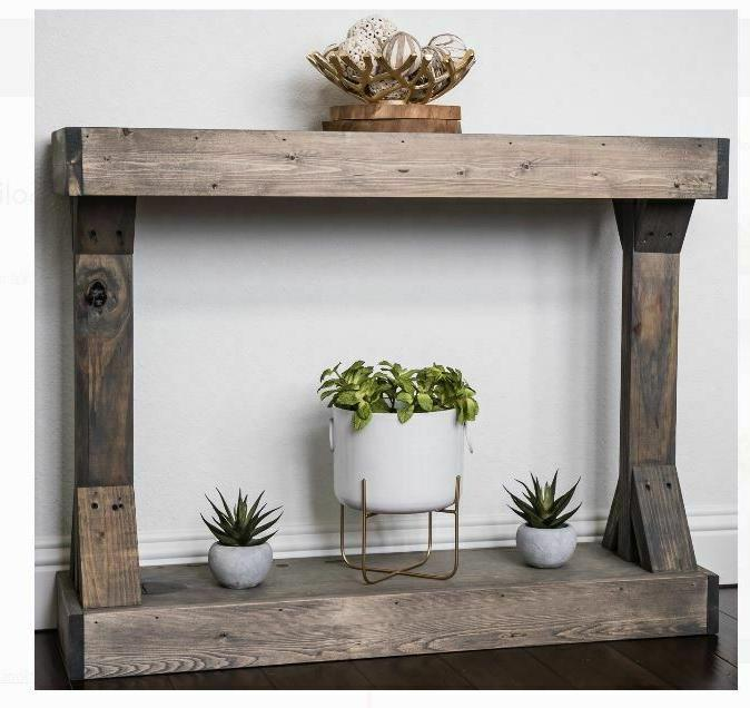 console table entryway gray wooden rustic farmhouse