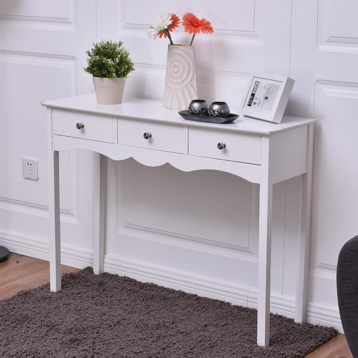 Console Table Hall Side Table 3 Drawers Entryway Table White