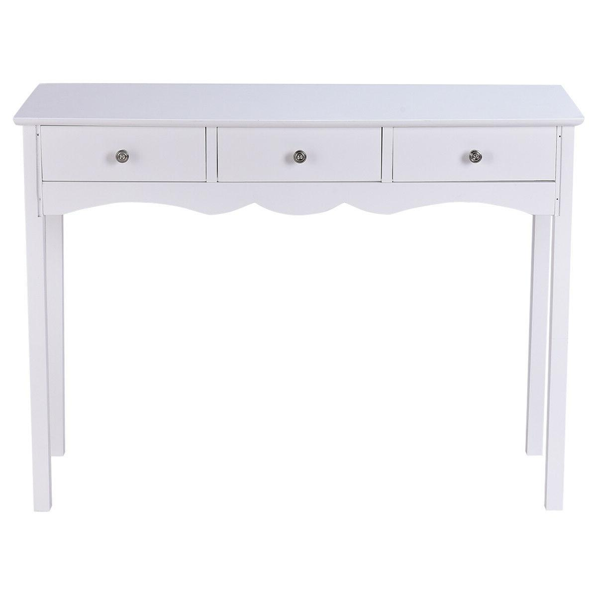 Side Table Drawers Entryway Accent White