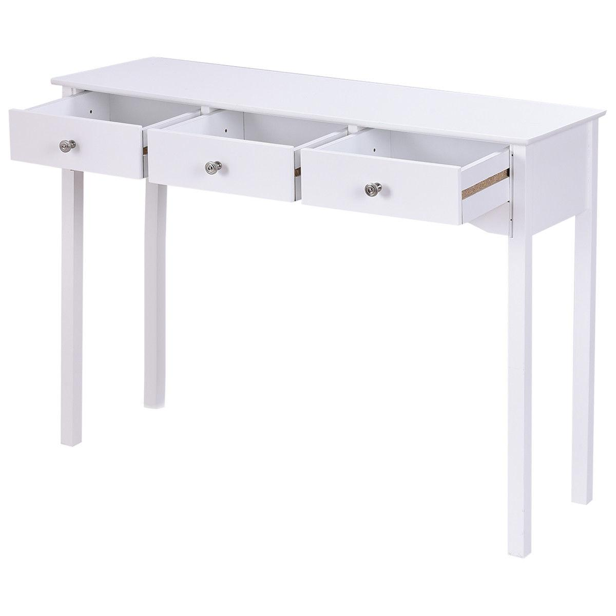 Console Table Hall Side 3 Entryway Desk Table White