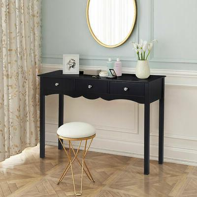 Console Hall table Side Desk Accent Table w/3 Drawers Black