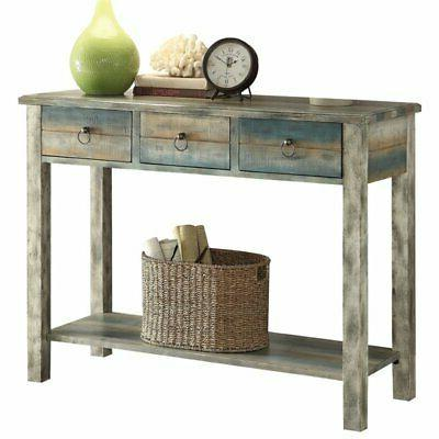 console table in antique white and teal