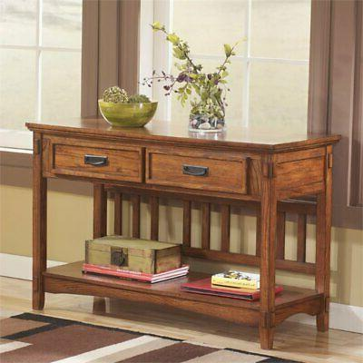 console table in medium brown