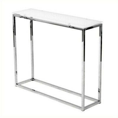 console table in pure white glass