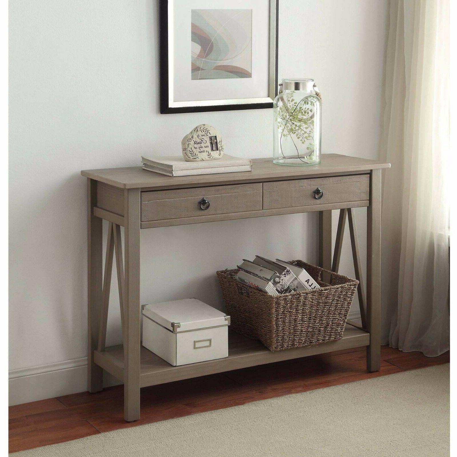 Console in Rustic Woodgrain Gray Finish Sofa Table 2 Drawers Entryway