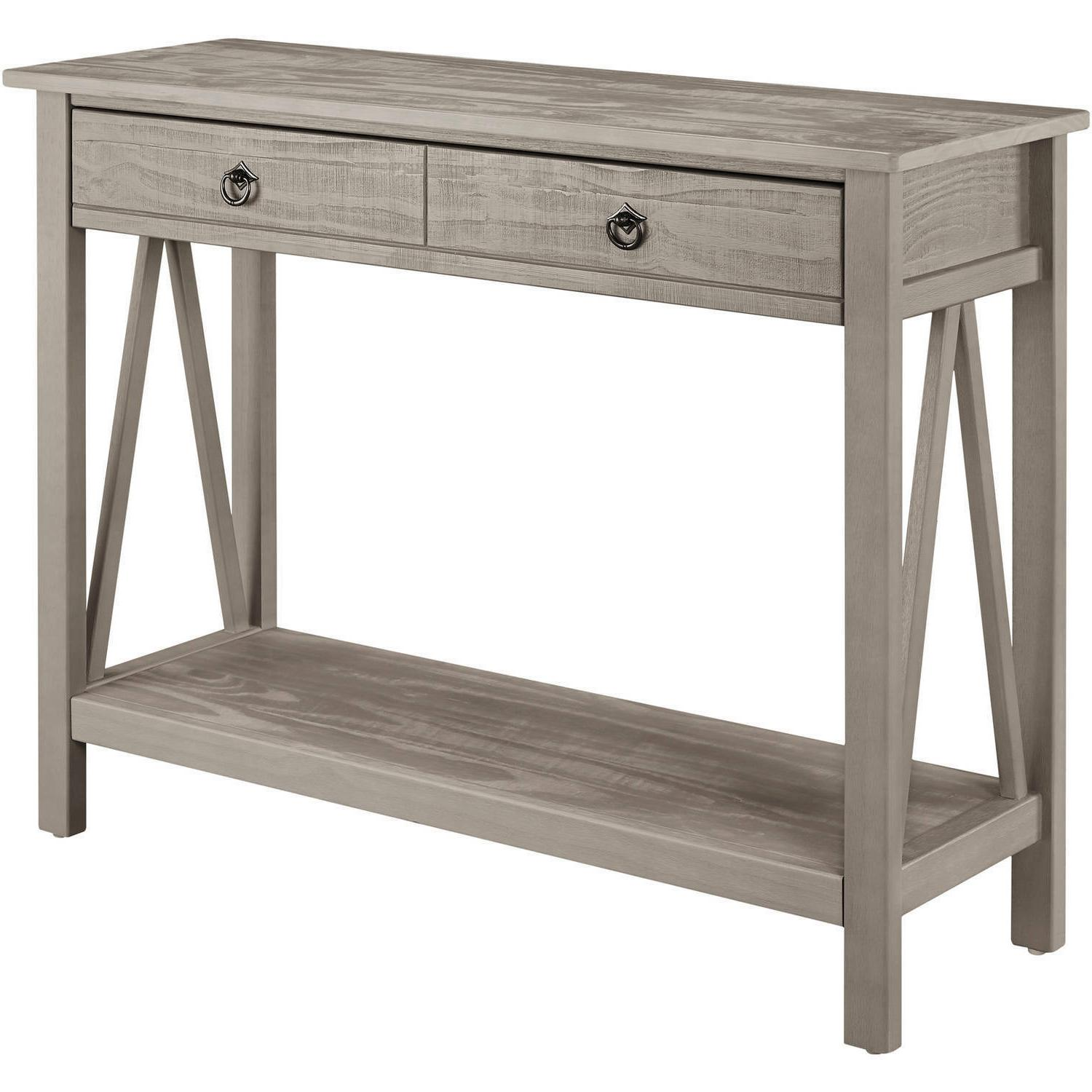 Console Woodgrain Table 2 Drawers Entryway