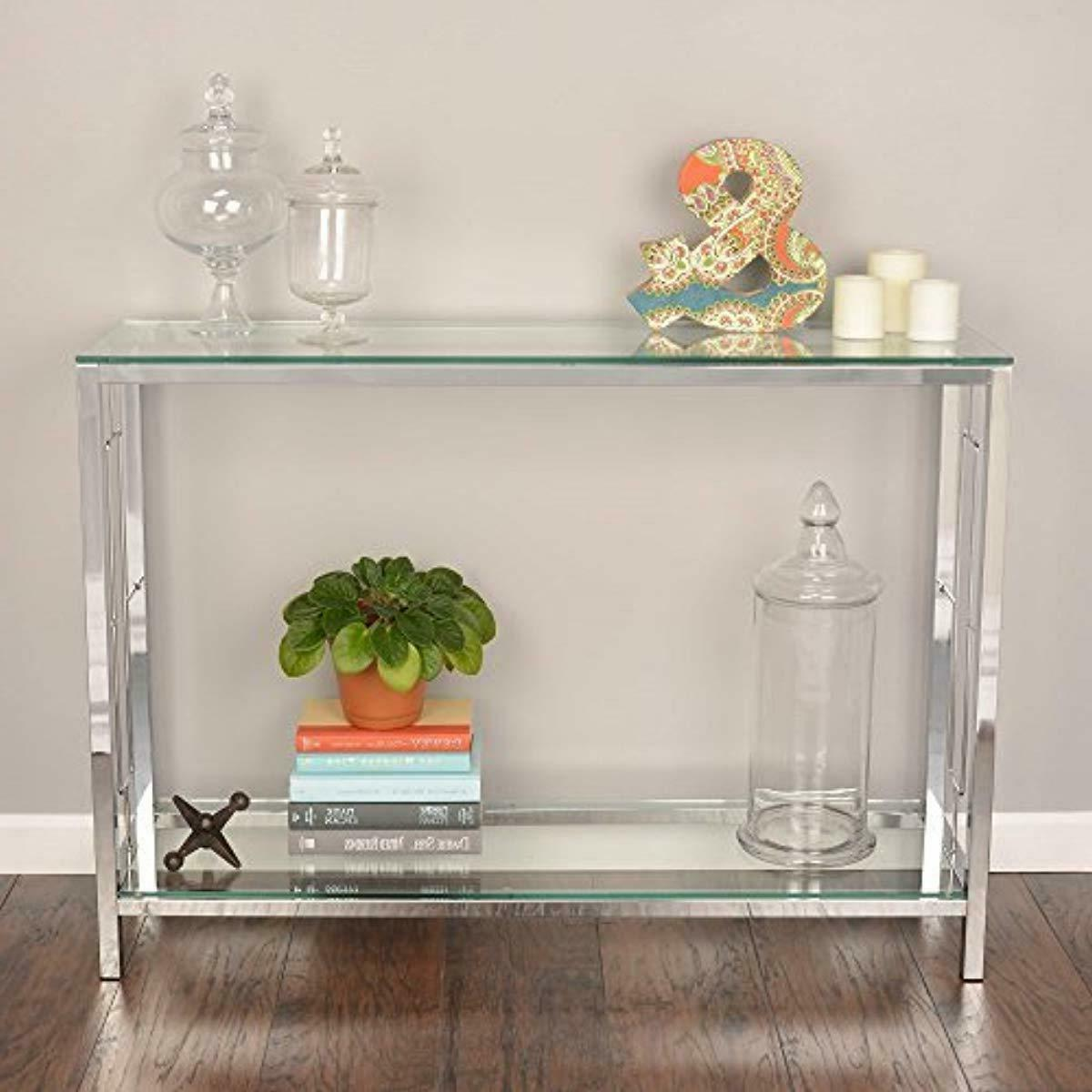 Console Table Modern Accent Side Stand Sofa Living Room Shelf New