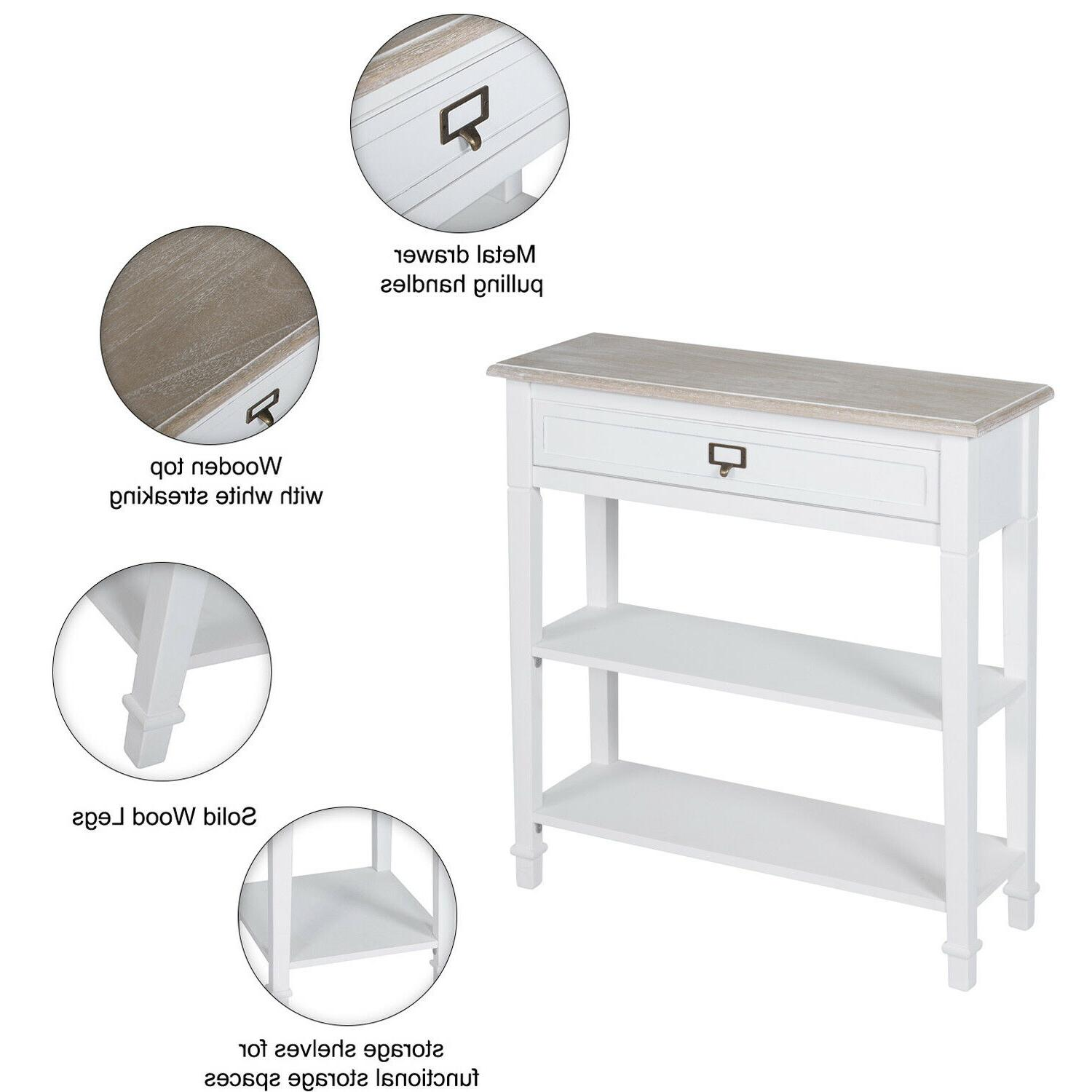 Console Table Table w/ and Tier Shelf White