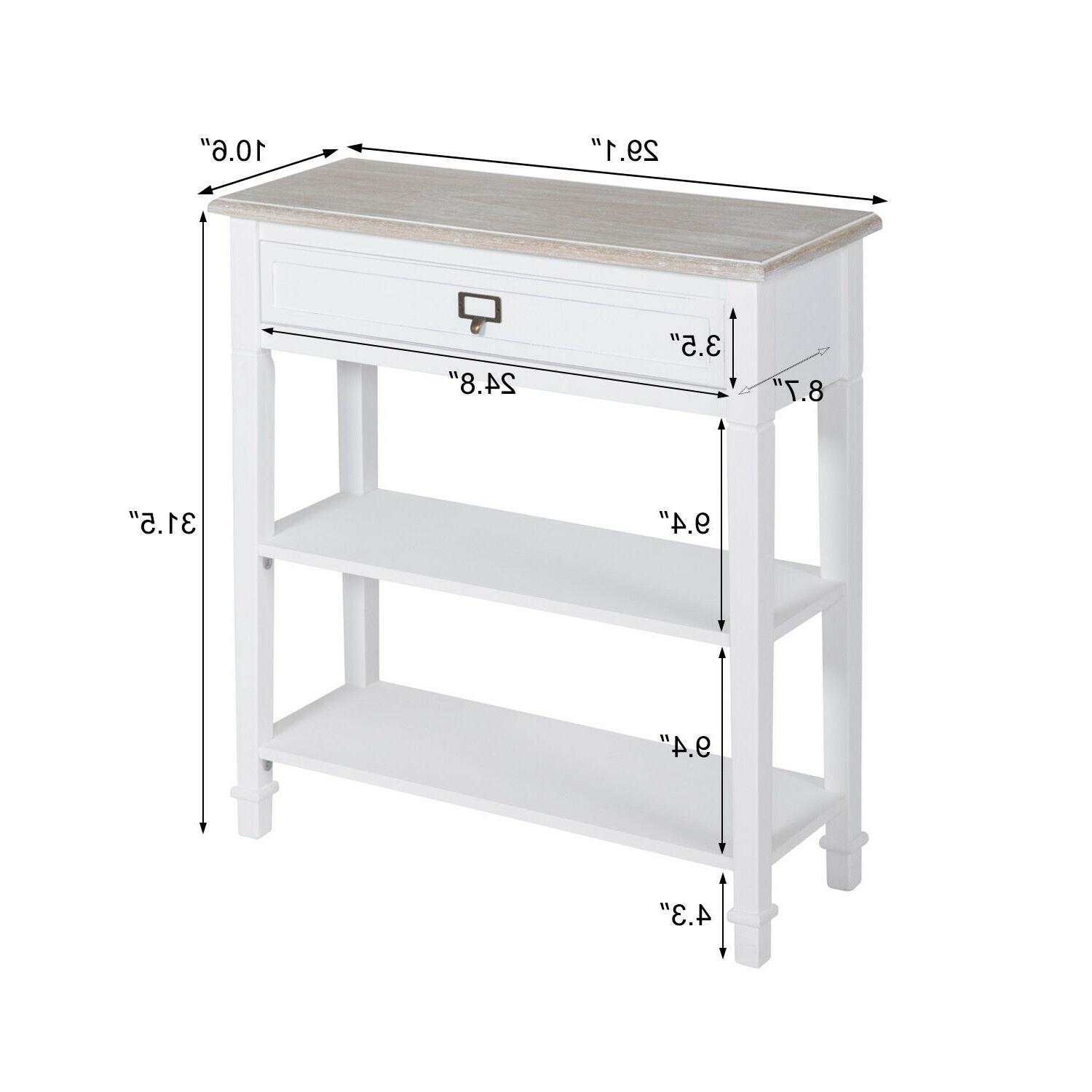 Console Table Sideboard w/ Drawer Tier White