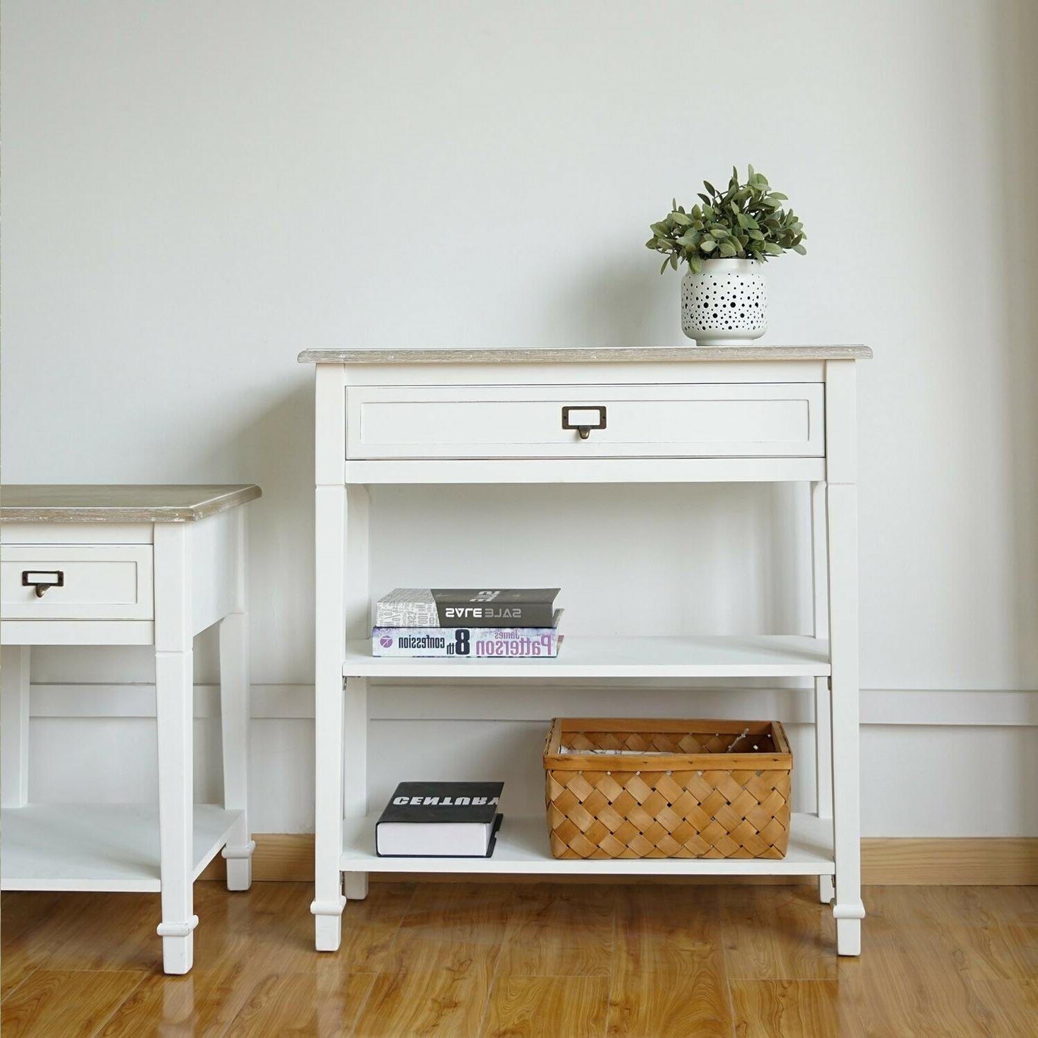 Console w/ Drawer White