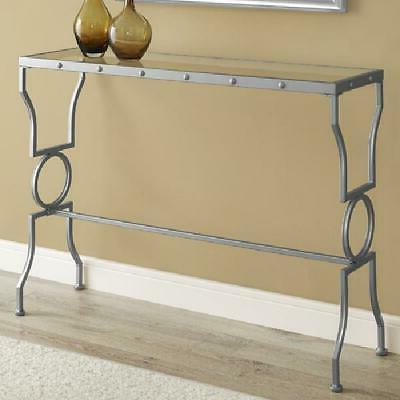 console table silver metal with tempered glass