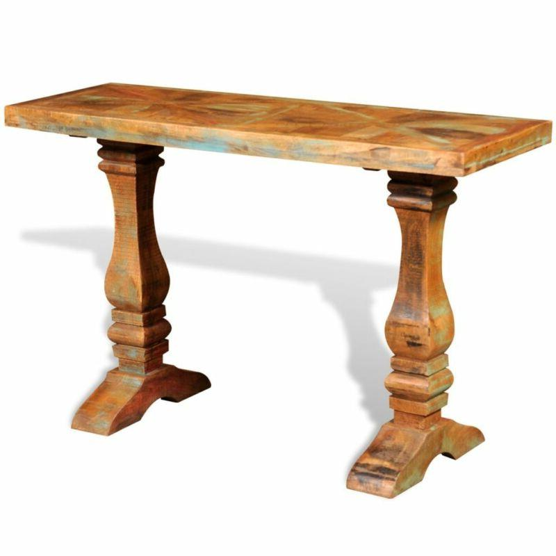 console table solid reclaimed wood vintage antique