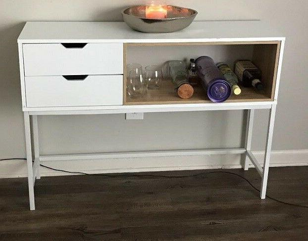 Console Table Storage Furniture White Drawer