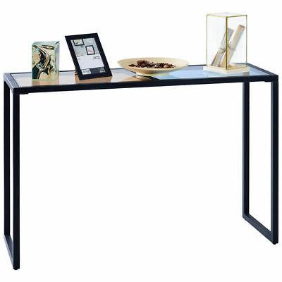Console Table Tempered Top Metal Entryway