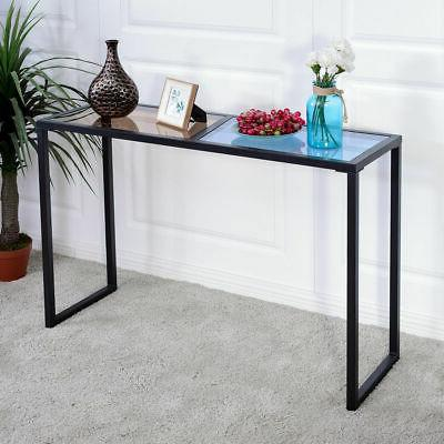 console table tempered glass top metal frame