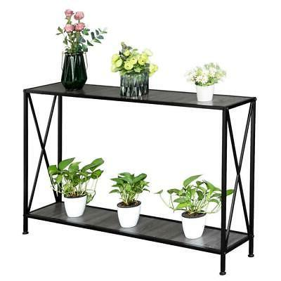 Console Table Accent Stand Storage Shelf Black