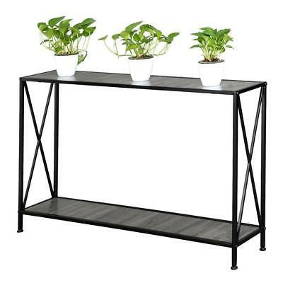 Console Table Stand Side Entryway Storage Shelf Black