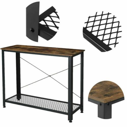 Modern Table/Desk Shelf Stand Furniture Black 2-Tiers