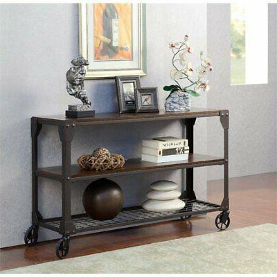 console table with casters in black