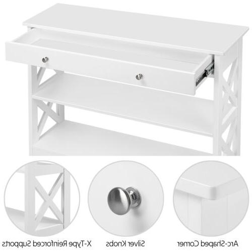 Console Table and 2 Open Shelves Narrow Table for