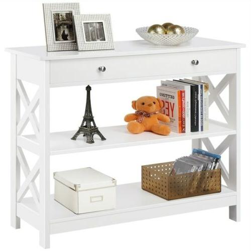 console table with drawer and 2 open