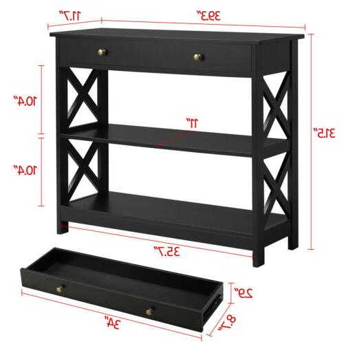 Console Table Drawer and 2 Open Narrow for Entryway