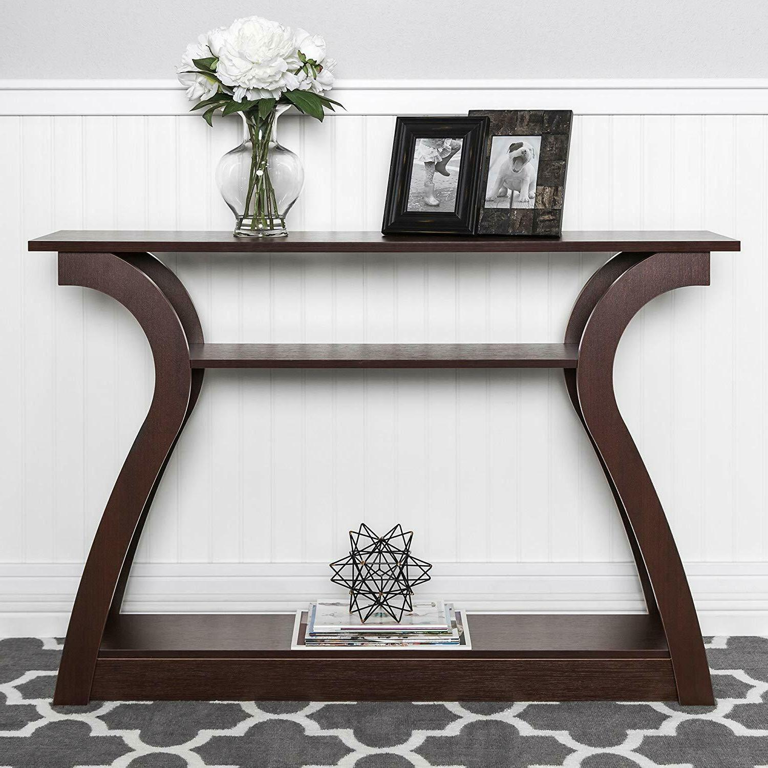 console table wood entryway sofa accent hallway