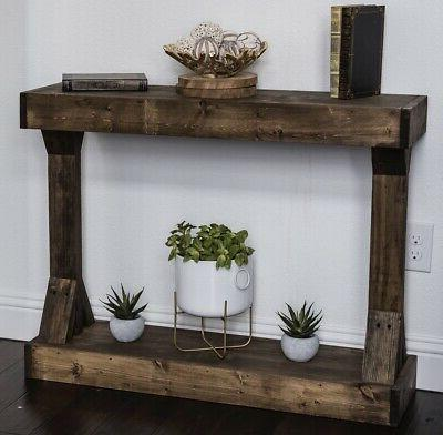 Console Table Wood Rustic Solid Accent Distressed Entry Foye