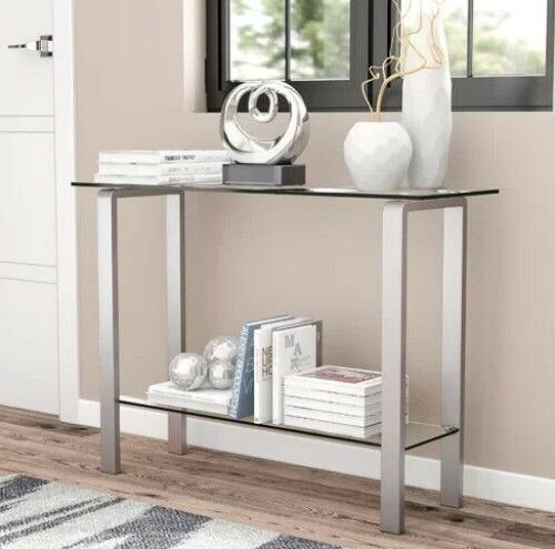 contemporary console table glass top 2 tier