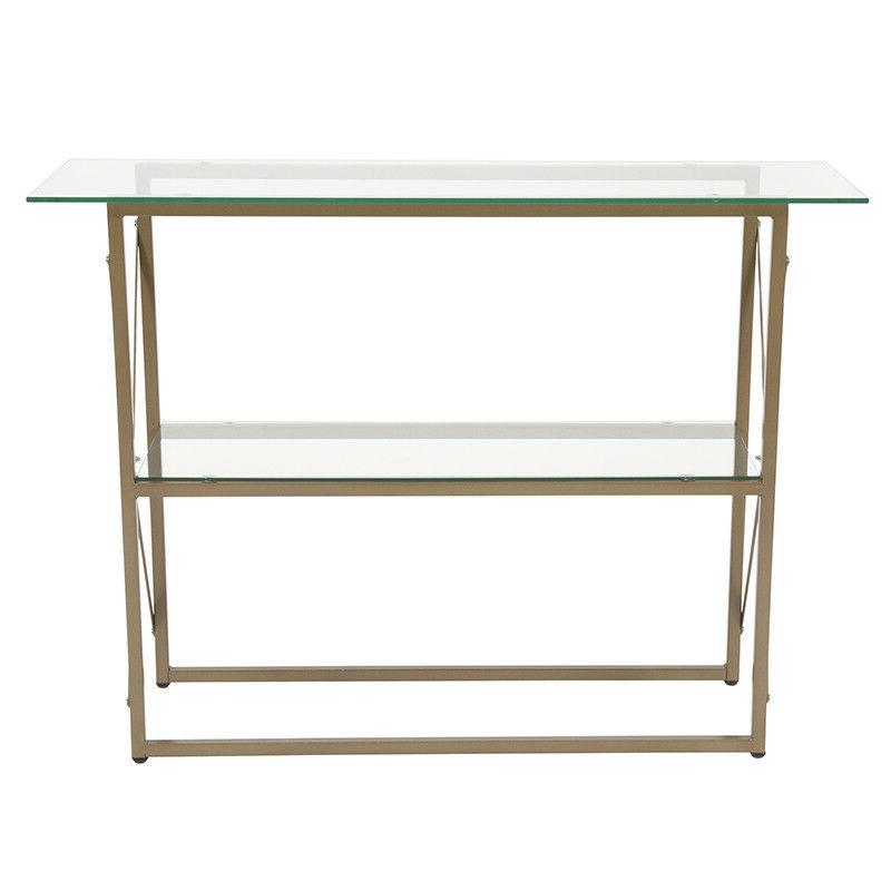Contemporary Console with Matte Gold Frame & Shelf