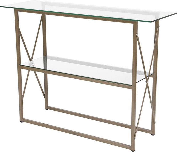 contemporary design tempered glass console table