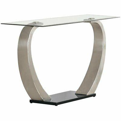 contemporary glass top accent console table in