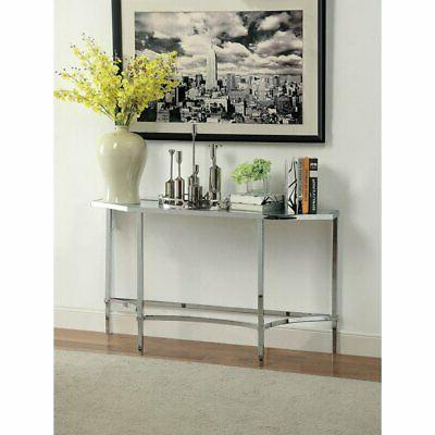 Furniture of America Crsylyn Modern Glass top Console Table