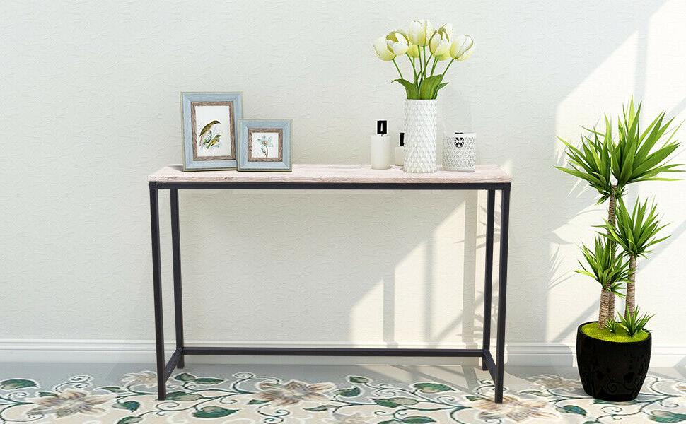 Diolong Entryway Wood/Metal Console Table Black for Hallway
