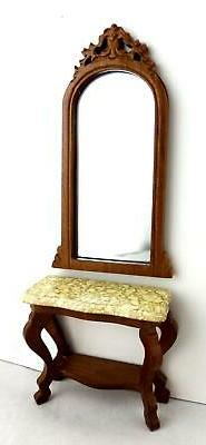 Dolls House Miniature Hall Lincoln Walnut Console Table & Mi