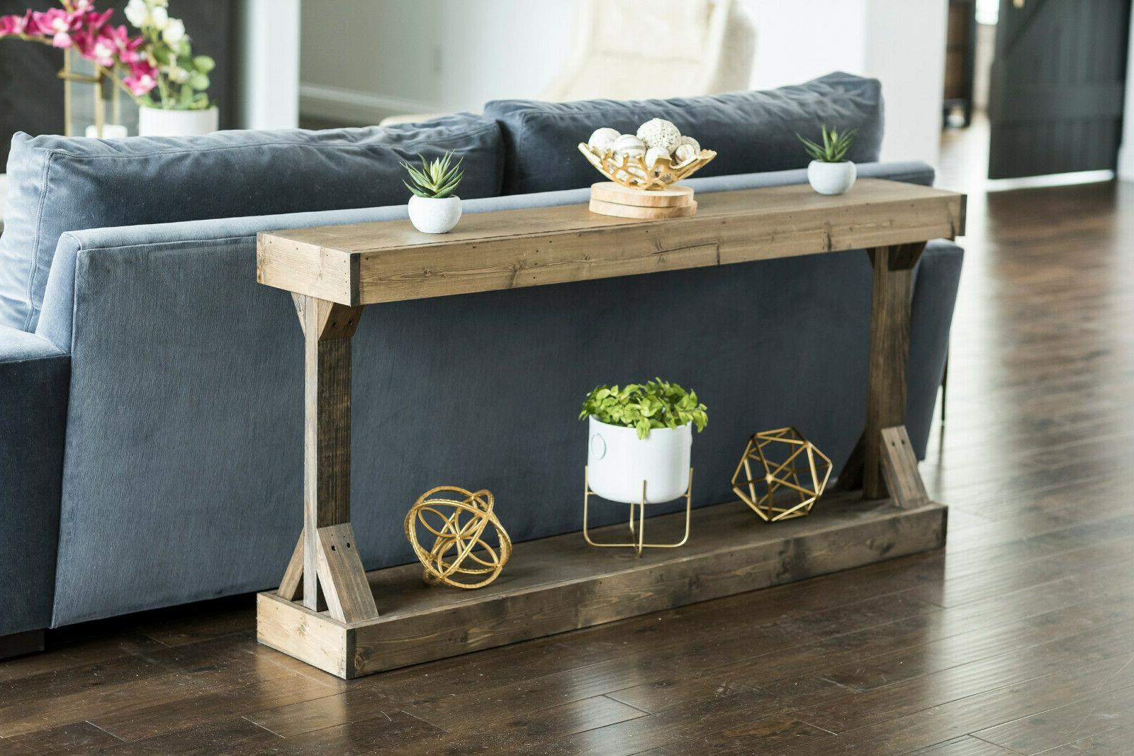 Entryway Table End Distressed Storage Farmhouse Rustic