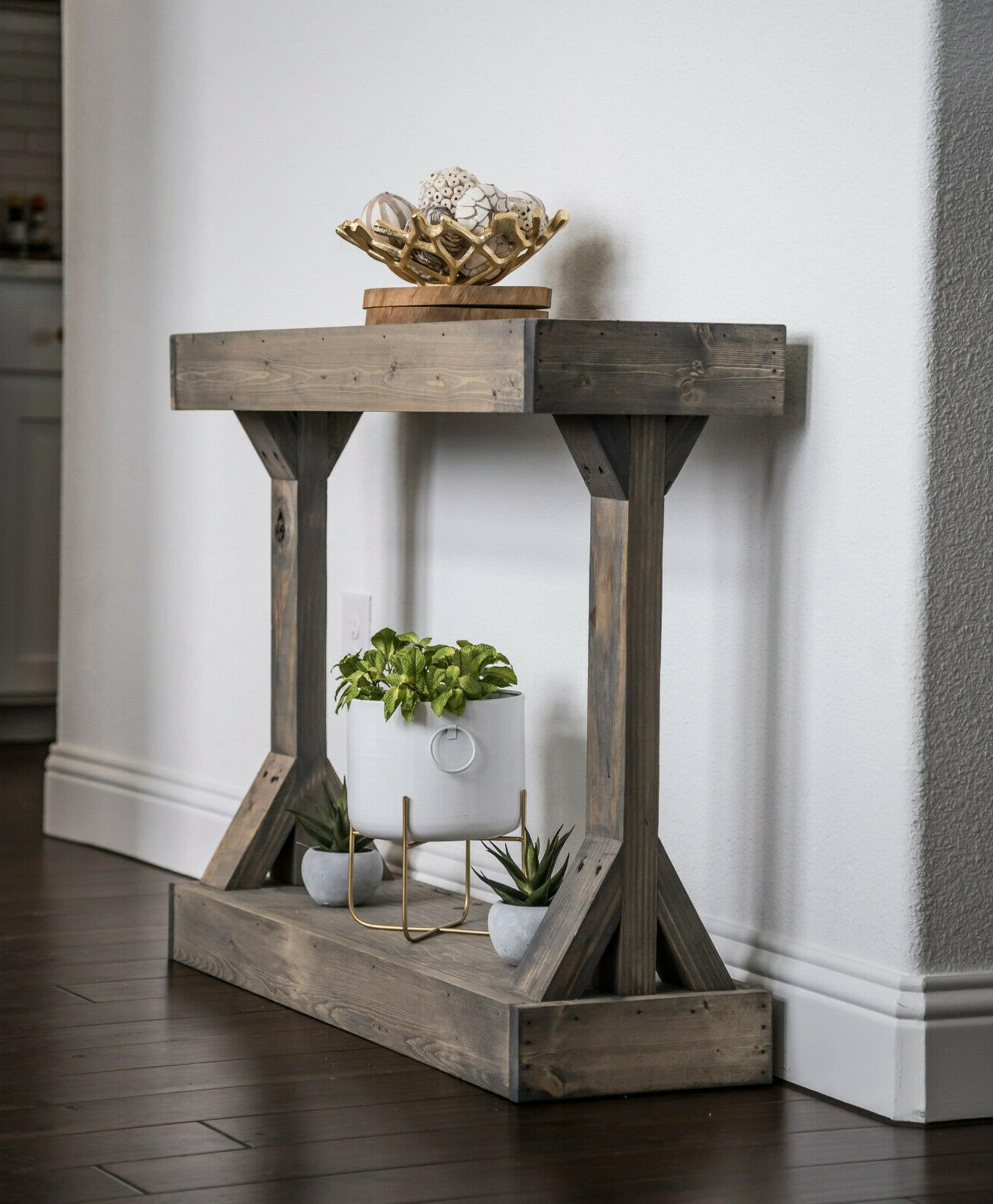 Entryway Table End Distressed Wood