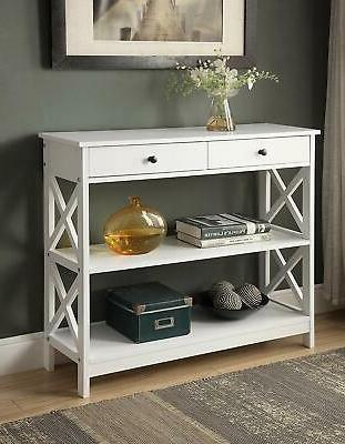 entryway table console furniture white accent wood