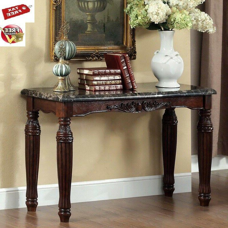 Entryway Table Faux Marble Top Console Sofa Wood Accent Espr